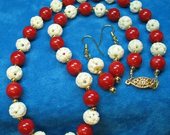Handcarved Bone Beads and Red Coral Beads with Gold Plated Beads Set Necklace and Earrings Creamy White and Blood Red