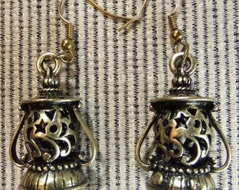Steampunk Brass Lantern Charms Dangle Earrings Perfect for a Fantasy or Sci-fi Lover