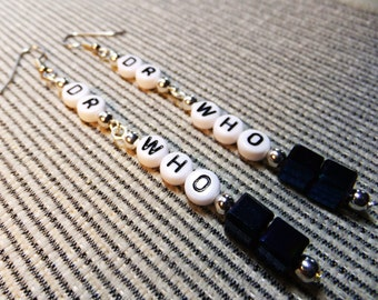 DR WHO Tardis Long Verticle Dangle EARRINGS Handcrafted with acrylic letter beads and blue glass cube beads