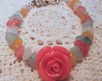 Resin Orange Rose with Multi-colored Stone Chips 8 in Double Bracelet with Magnetic Clasp (Pink Crystals)
