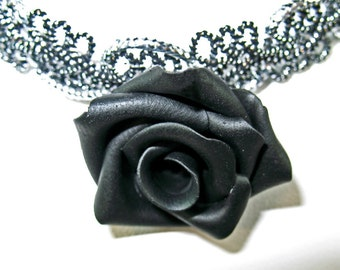 Black Rose Goth Necklace on Silvery Lace Choker Perfect for Halloween