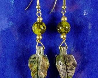 Beautiful Stone Leaf Dangle Earrings
