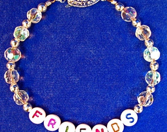 FRIENDS Bracelet with Crystal Beads and Silver Plated Beads