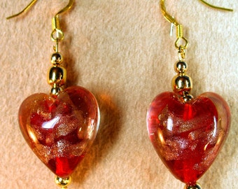 Red and Gold Heart Earrings Perfect for Valentines Day