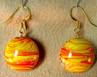 Red Orange Yellow Beaded Dangle Earrings