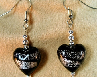 Black and Silver Hearts Dangle Earrings