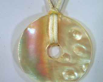 Large White Shell Donut Mother of Pearl Donut on a Satin Cord Necklace
