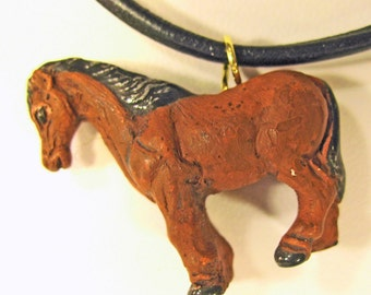 Brown Pony on a Leather Cord Choker