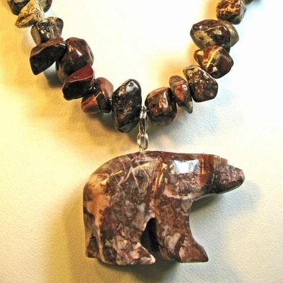 Carved stone bear pendant with jasper chips necklace ooak red