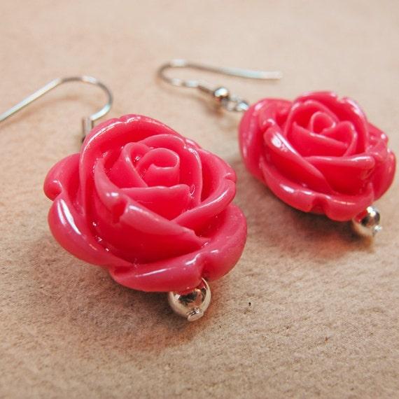 Salmon Pink Coral Resin Roses Dangle Earrings