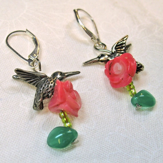 Pewter Hummingbird Charms Above Carved Pink Bamboo Coral Roses Dangle Earrings