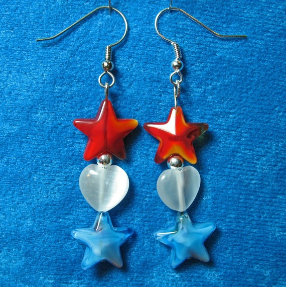Glass Stars and Acrylic Hearts Beads Dangle Earrings RED WHITE and BLUE