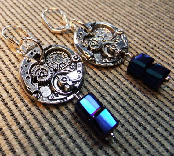 Steampunk Tardis Pewter Clock Part Charms Blue Cube Beads Dangle Earrings Perfect for a Dr Who Fan