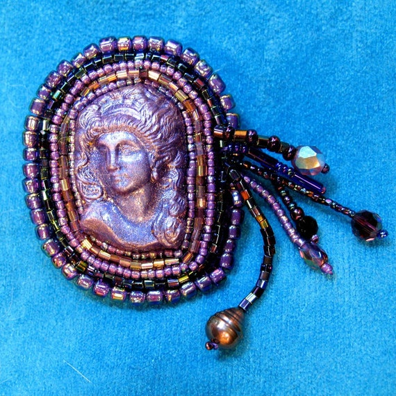 Beautiful Bead Embroidered Brooch Purple Polymer Lady