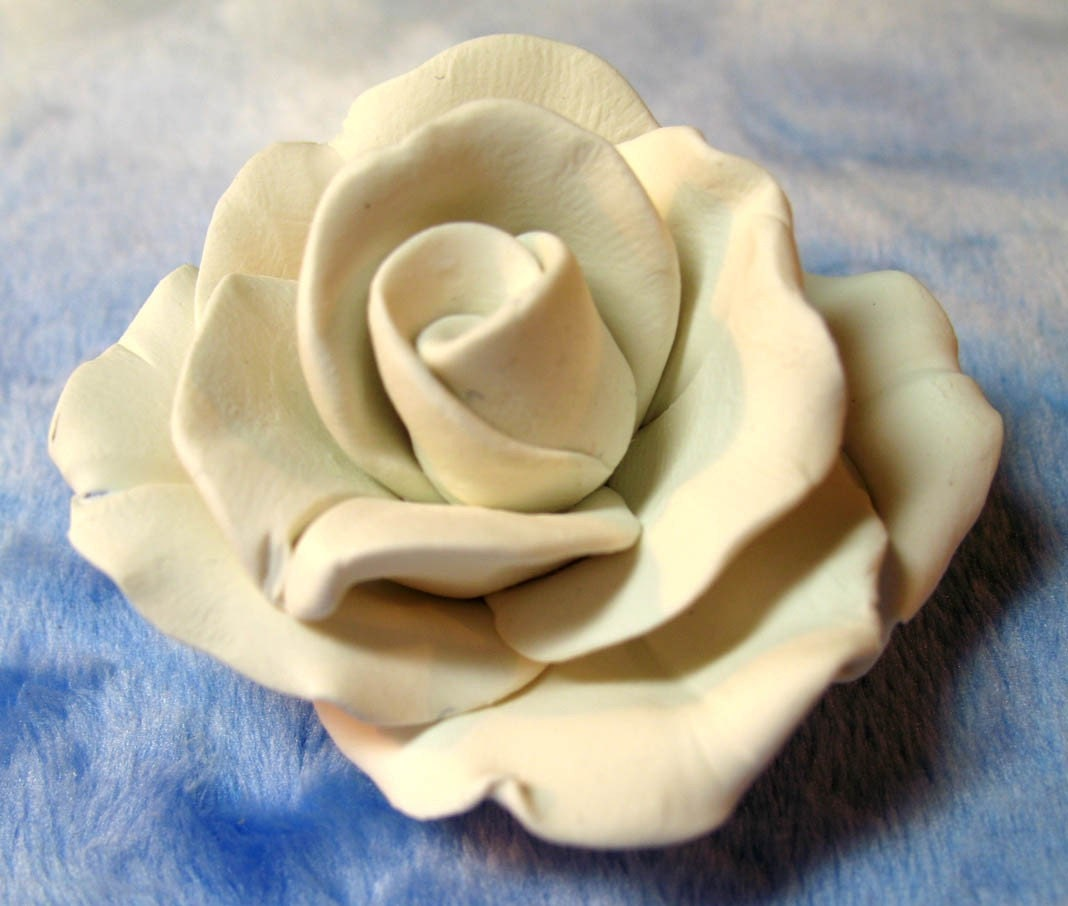 White Rose Polymer Clay Handmade Rose Inspired By