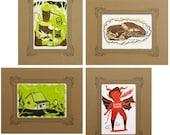 THUNDER ROAD 4 Letterpress Prints: White Lightning Hot Rod, Moonshine Still, Thirsty Devil, Log Cabin