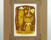 CARELESS LOVE CARNIVAL Treats Brown Print in Kraft Vignette Hand Printed Letterpress