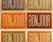 4 BONJOUR French Hello Cards Letterpress Hand Printed oversized recycled paper kraft envelopes