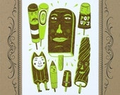 POPSCICLE, BROWN Cow and ROCKETPOP Ice Cream People in a Letterpress Vignette Mat