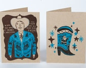 SANTA Western Suit and Cowboy Boot Letterpress Cards with Envelopes 4 pack Brown & Turqoise