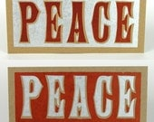 PEACE Red and Silver Hand Printed Letterpress Cards - 8 pack
