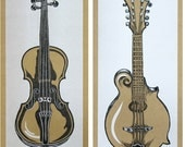 SIX INSTRUMENT POSTERS Fiddle Banjo Mandolin Dobro Guitar Ukulele
