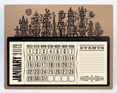 JIM FLORA's Harbor Scene - Letterpress Poster Calendar for 2012