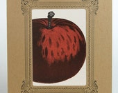Red Apple Print in kraft 8x10 vignette letterpress
