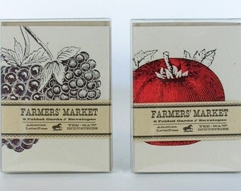 4 Packs Farmers Market Cards Letterpress Printed 32 Cards with Envelopes