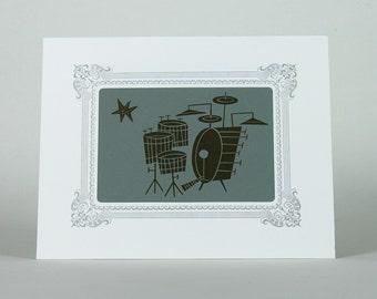 JIM FLORA Stardust DRUMS Hand Printed Letterpress Print in a Letterpress Vignette Mat