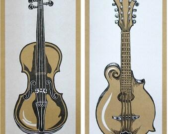 SIX INSTRUMENT POSTERS Fiddle Banjo Mandolin Dobro Guitar Ukulele