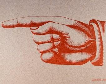 Giant POINTY FINGER Pointing LEFT Hand Printed Letterpress Poster on Kraft cardstock