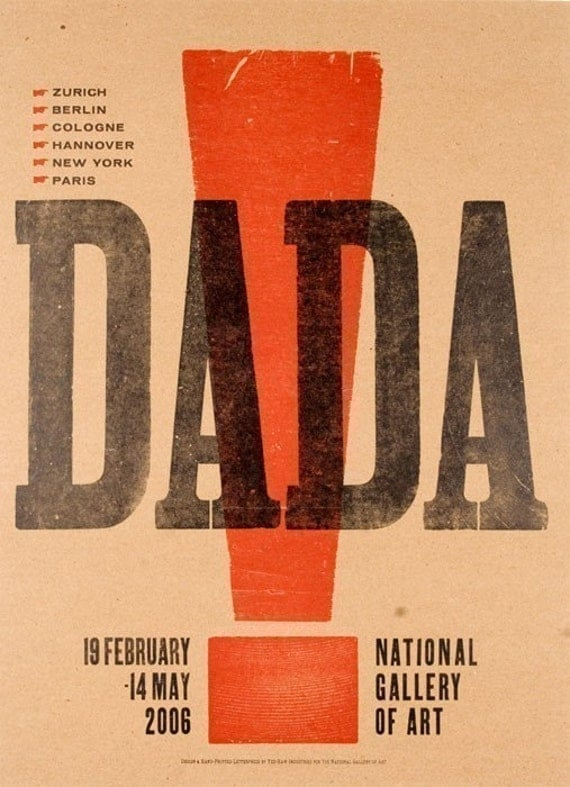 DADA EXCLAMATION POINT Hand Pulled Letterpress Print