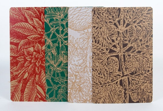 Cool Yule Holiday Plants 4 Prints & Envelopes Hand Printed Letterpress