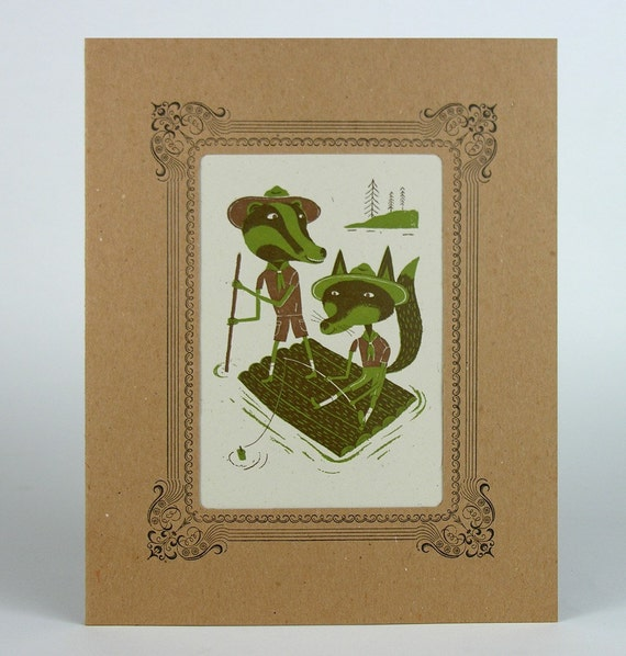 RIVER RASCALS Jr. Ranger Scout Letterpress Printin a Kraft Letterpress mat green and brown