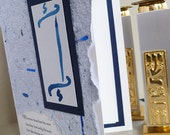 Bar  Mitzvah Quote from Talmud Invitation with Blue Torah and Handmade Paper