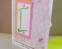 Handmade  Bat Mitzvah Card or Invitation with Torah motif and quote
