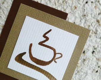 Handmade Thank you Notes with Hand Painted  Coffee Cups on Handmade Recycled Paper