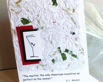 Handmade Greeting Card with Martini  Quote by H.L. Mencken