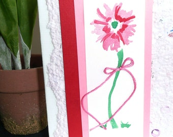 Hand painted Pink Flower Note Cards  Set of 6  Personalized