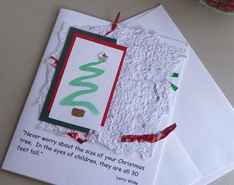 Handmade Christmas Card with Quote and Handmade Paper