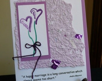 Wedding or Anniversary Quote Greeting Card with Handmade Recycled Paper