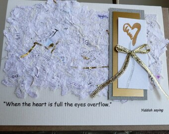 Sympathy Card with a Yiddish  quote on Recycled Handmade Paper