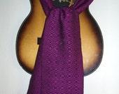 Midnight Flowers Magenta Silk and Black Merino Wool Scarf