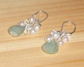 Sea Foam Earrings in Faceted Aquamarine Briolettes, Pearls, and Faceted Quartz