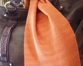 Orange Sunset Handwoven Silk and Tencel Scarf