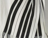 Handwoven Scarf, Black, White, Stripes, Piano, Keyboard, Music, Long, For Women and Men
