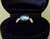 Moonstone and pearl gold ring