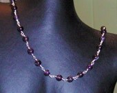 Purple amethyst and silver necklace and earrings set hand made