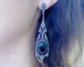 Art Deco Nouveau onyx and marcasite sterling dangle earrings